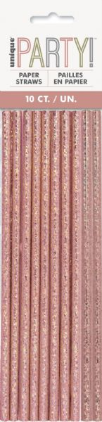 Glitz Rose Gold Paper Straws (10)